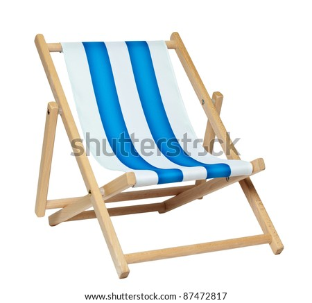 Traditional deck chair isolated against a white background. Includes clipping path. - stock photo