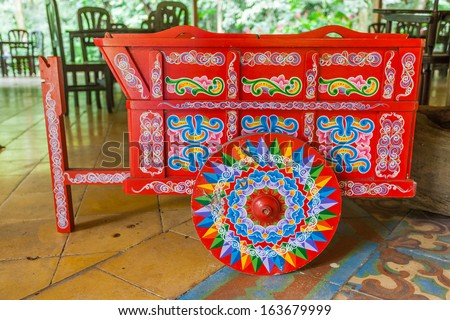 Traditional decorated,Costa Rican ox cart - stock photo