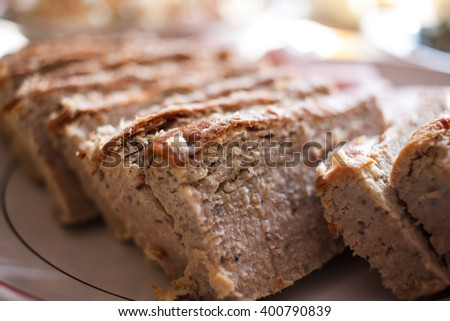 Traditional delicious pate on plate