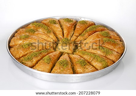 traditional dessert baklava, well known in middle east - stock photo