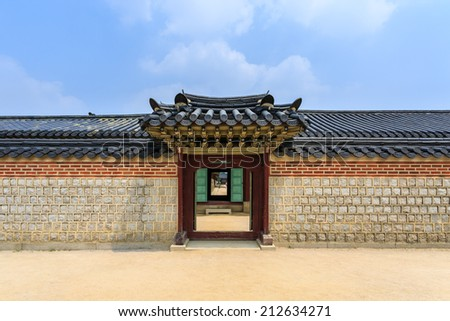 Traditional door and wall korean style - stock photo