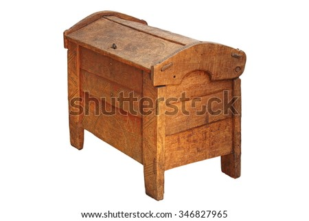 traditional dowry coffer isolated over white background, made from oak wood