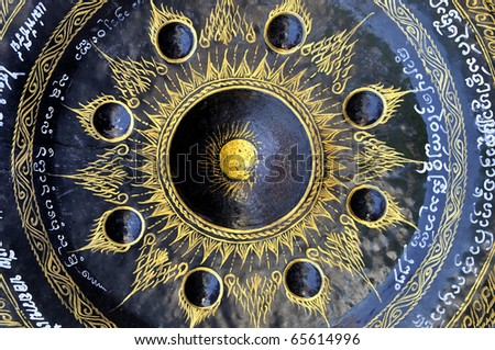 Traditional drum in Buddhist Gong ana cymbals [OLD] - stock photo