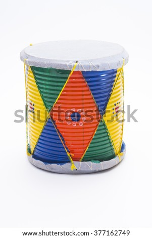 Traditional Drum Isolated on White Background - stock photo