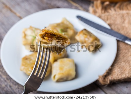 traditional dumplings with sauerkraut and mushrooms  - stock photo