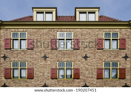 Traditional  dutch facade apartments background