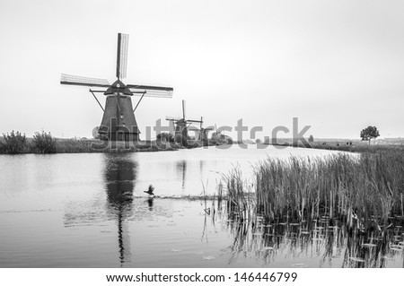 Traditional Dutch windmills in Kinderdijk, Netherlands (black and white) - stock photo