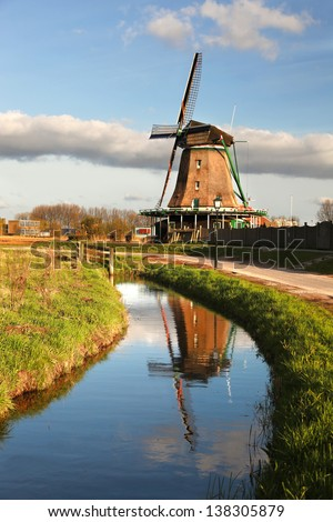 Traditional Dutch windmills with canal close the Amsterdam, Holland