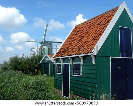 Traditional Dutch wooden windmill, Netherlands