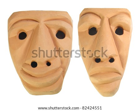 Traditional earthen Sardinia masks,typical of Sardinia carnival and used as ornamental objects - stock photo