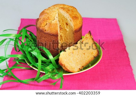 Traditional easter yeast cake with raisins Spongy yeast cake that is traditionally baked for Easter Sunday in Poland, Belarus, Ukraine , Russia. - stock photo
