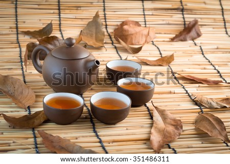 traditional eastern teapot and teacups.jpg - stock photo