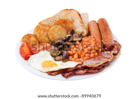 Traditional English Breakfast. Image is isolated on white background. - stock photo