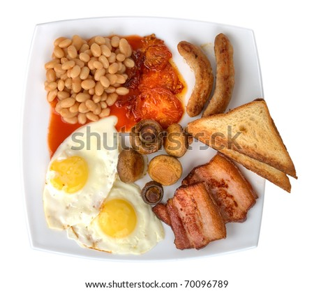 traditional english breakfast, isolated on white - stock photo