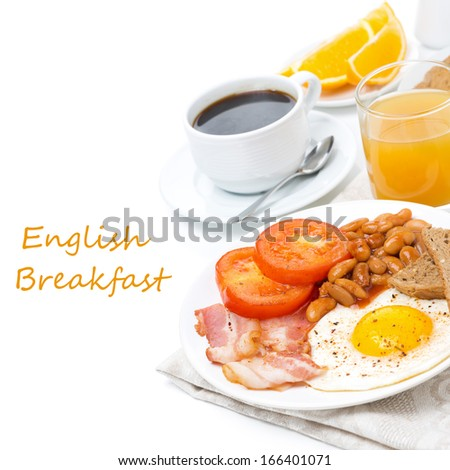 Traditional English breakfast with fried eggs, bacon, beans, coffee and juice, isolated on white - stock photo