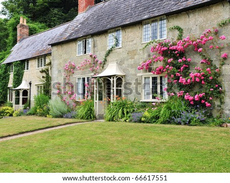 Traditional English Cottage and Garden - stock photo