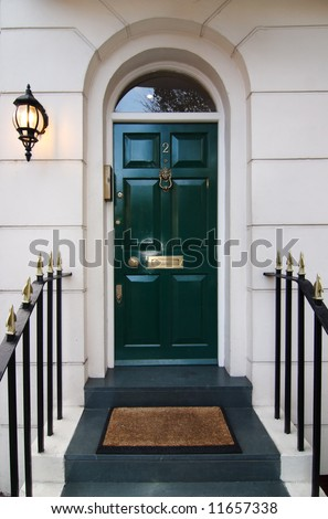 Traditional english door in London - stock photo