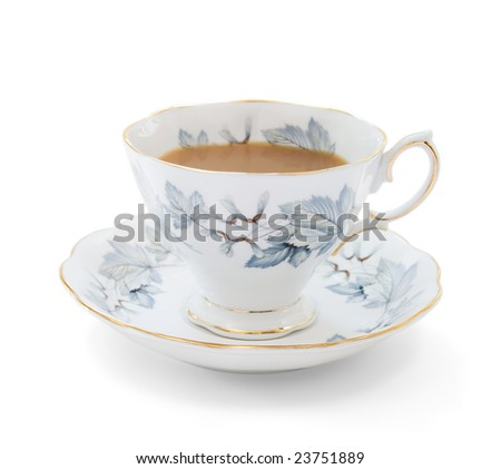 Traditional English style teacup on white background with soft shadow - stock photo