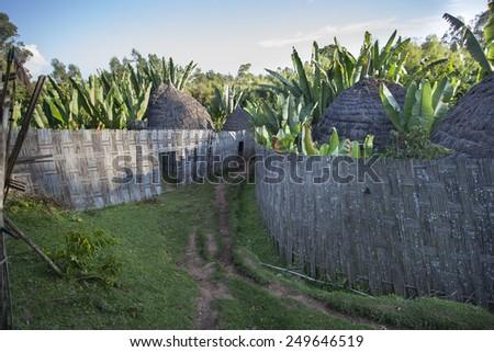 Traditional Ethiopian village Karat Konso. Ethiopia. - stock photo