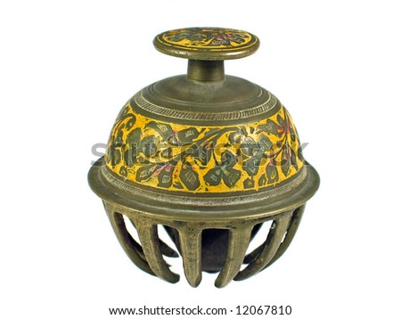 Traditional ethnic decorated bell India isolated on white - stock photo