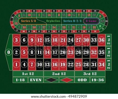 Traditional European Roulette Table raster illustration
