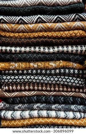 traditional fabric of peruvian clothing - stock photo