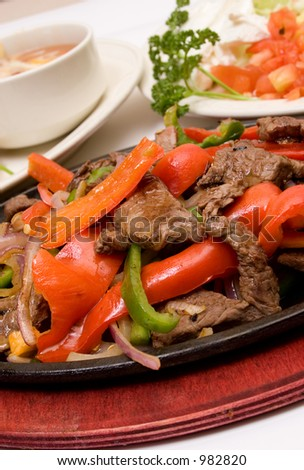 traditional fajitas (meal)