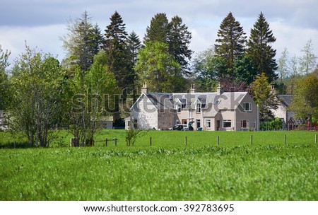 Traditional farm buildings set in the Scottish highlands countryside. UK.