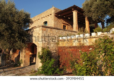 Traditional farm house at Crete island in Greece - stock photo