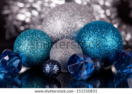 traditional festive christmas decoration glitter in silver and blue