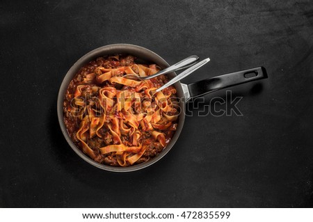 Traditional Fettuccine pasta with bolognese sauce