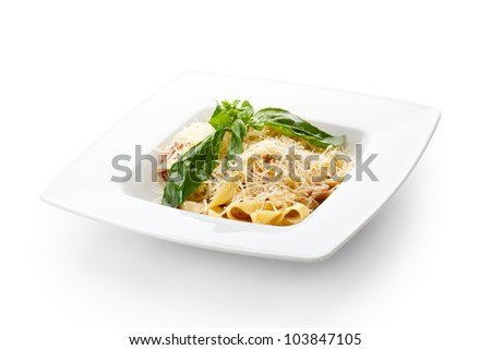 Traditional Fettucine alla Carbonara with Basil Leaf