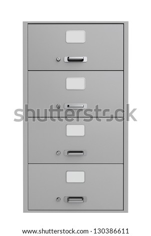 Traditional File Cabinet on a white background - stock photo