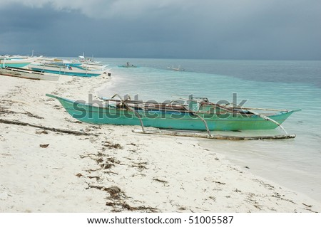 traditional filipino boat on the beach, Philippines - stock photo