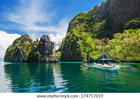 Traditional filippino boat in the sea, Philippines - stock photo