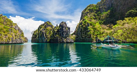 Traditional filippino boat in the sea, Philippines