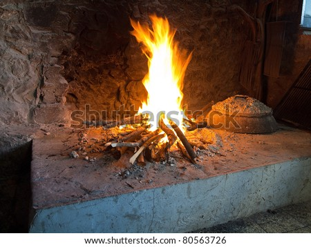 Traditional fireplace in Dalmatia close up