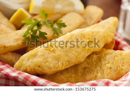 Traditional Fish and Chips with Tartar Sauce - stock photo