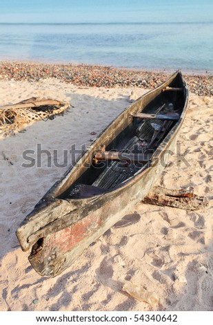 Traditional fishing boat huri on beach of Socotra Island