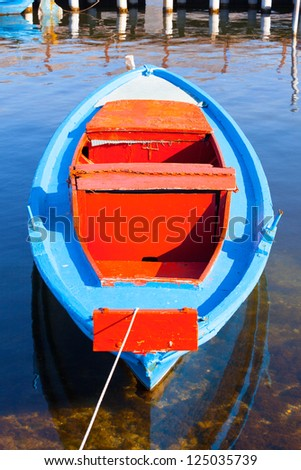 Traditional fishing boat, in Aitoliko sea lake in Central Greece