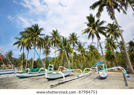 Traditional fishing boats at Bali and Lombok, Indonesia - stock photo