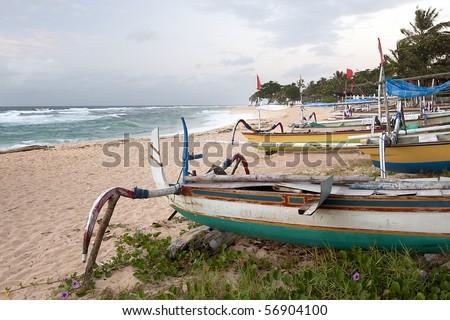 Traditional Fishing Boats in Bali - stock photo