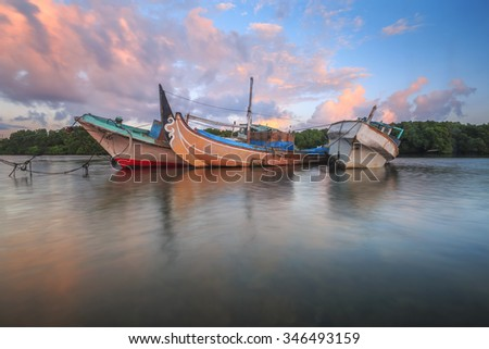 Traditional fishing boats in Tuban Village, Bali Indonesia. Another compositions.