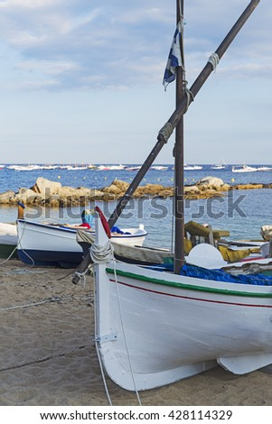 Traditional fishing boats on the beach, of Calella de Palafrugell, catalonia, spain - stock photo