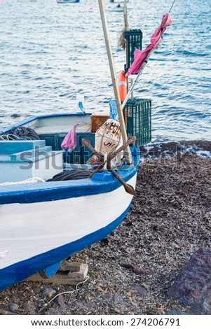 Traditional fishing tackle in a small wooden boat
