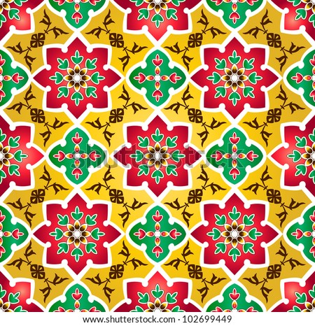 Traditional Floral Islamic Pattern - stock photo