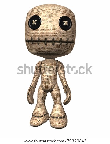 Traditional folk magic voodoo doll with sewn button eyes and stitched mouth. Isolated illustration cutout on clean white background. - stock photo