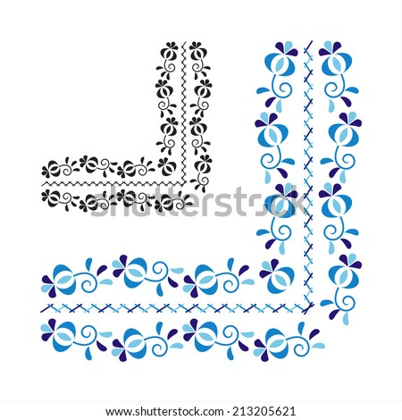 Traditional folk ornament and pattern isolated on white background (Vector version is also available in my portfolio, ID 170507552) - stock photo