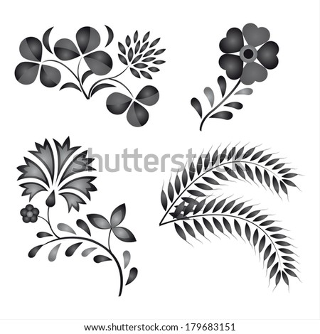 Traditional folk ornaments isolated on white background (Vector version is also available in my portfolio, ID 119315596) - stock photo