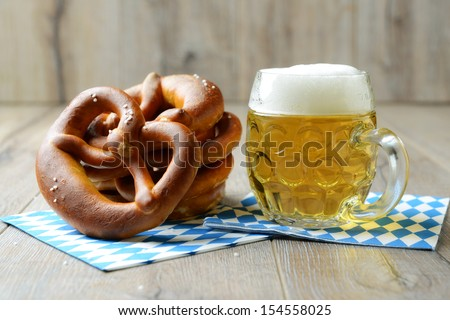 "traditional food and drink for german ""oktoberfest"" - stock photo"